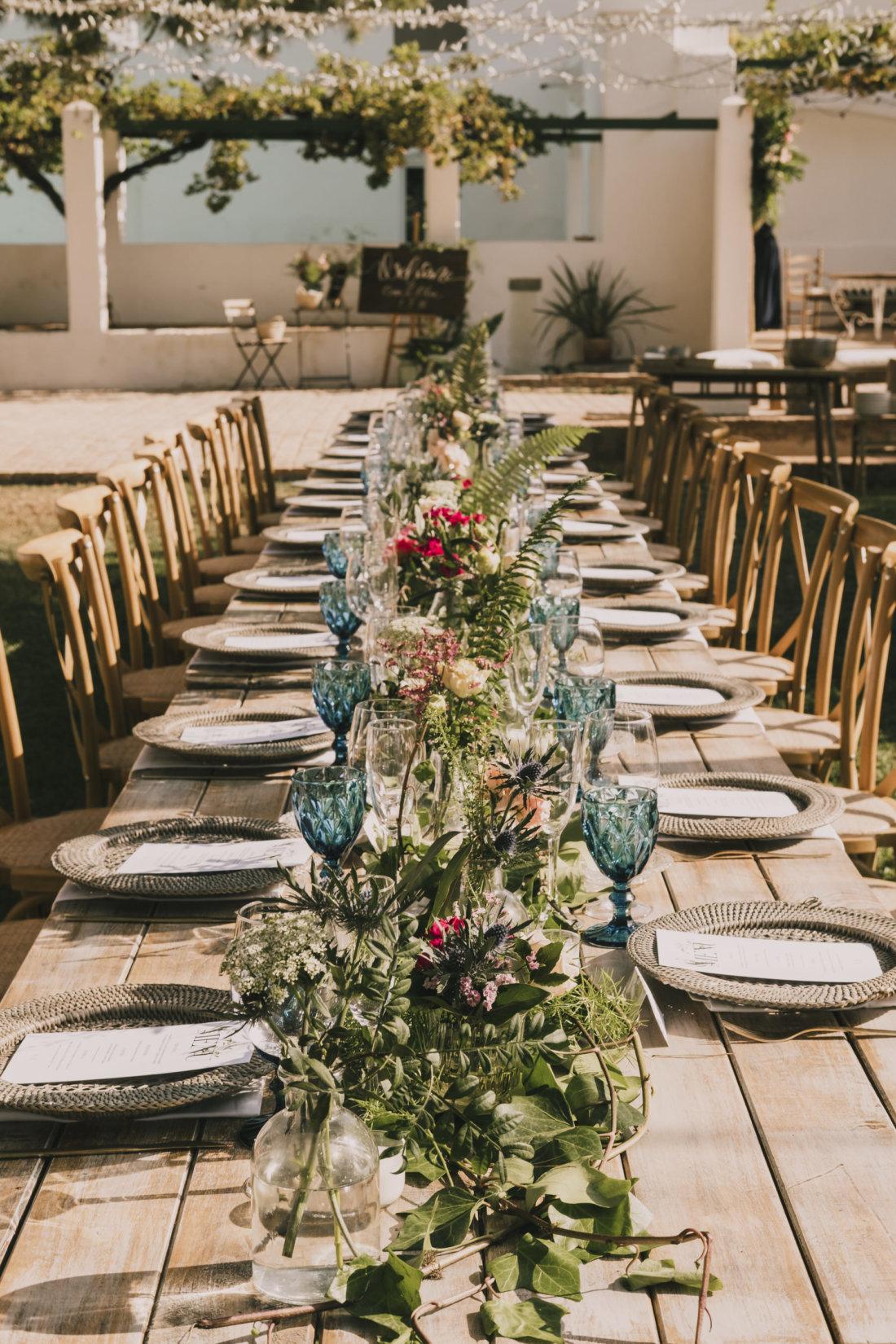 Decoración mesa banquete