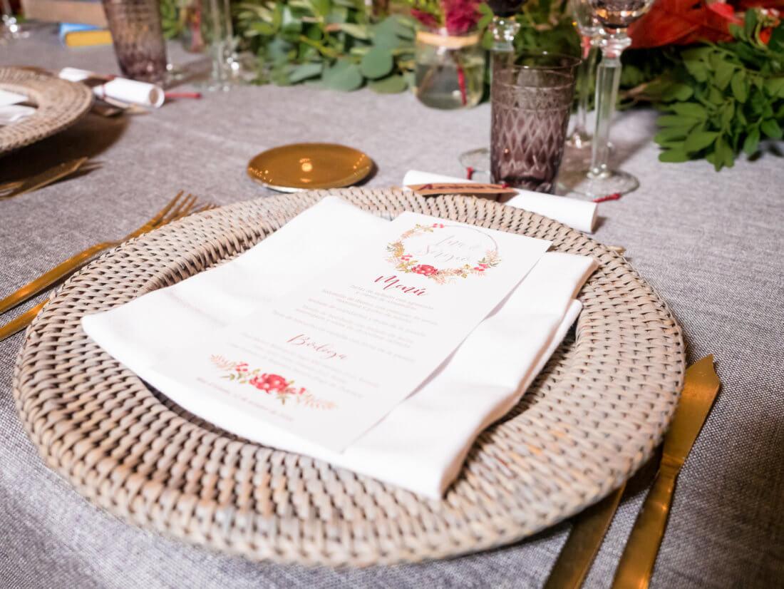Detalles de banquete de boda